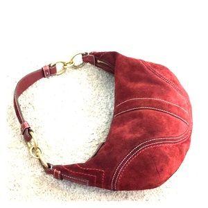 💕 Coach burgundy suede small hobo bag cute 💕